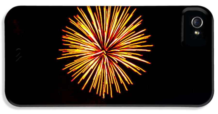Fireworks IPhone 5 Case featuring the photograph Golden Fireworks Flower by Robert Bales