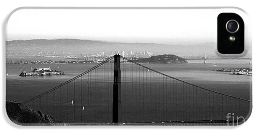 Golden Gate Bridge IPhone 5 Case featuring the photograph Golden Gate And Bay Bridges by Linda Woods