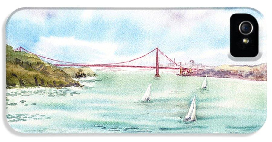 San Francisco IPhone 5 Case featuring the painting Golden Gate Bridge View From Point Bonita by Irina Sztukowski