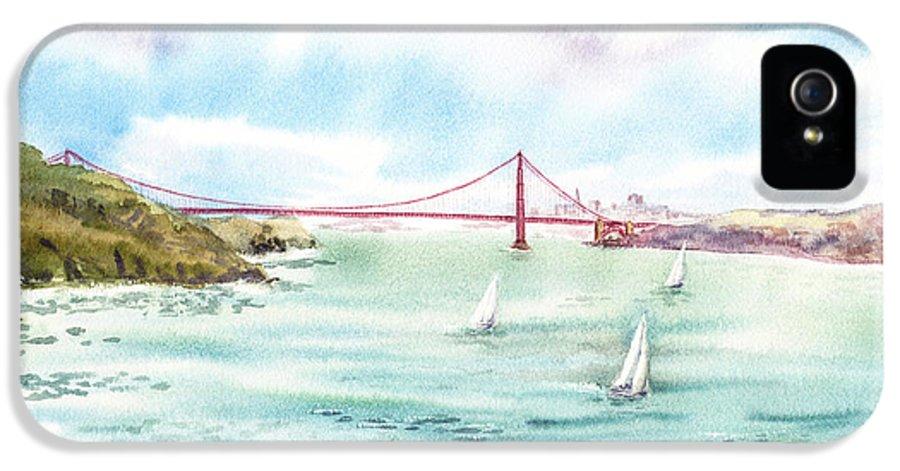 San Francisco IPhone 5 / 5s Case featuring the painting Golden Gate Bridge View From Point Bonita by Irina Sztukowski
