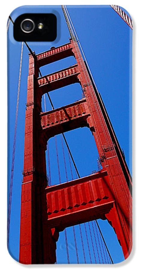 Golden Gate Bridge IPhone 5 Case featuring the photograph Golden Gate Tower by Rona Black