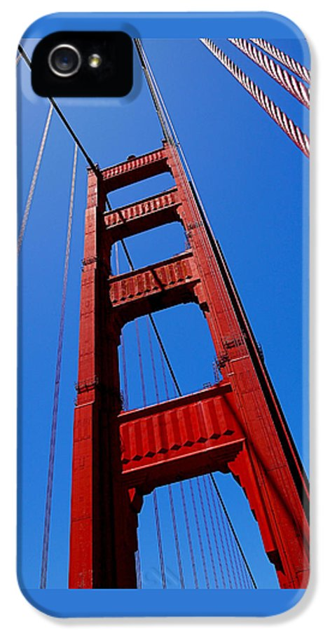 Golden Gate Bridge IPhone 5 / 5s Case featuring the photograph Golden Gate Tower by Rona Black