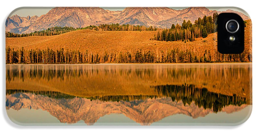 Rocky Mountains IPhone 5 Case featuring the photograph Golden Mountains Reflection by Robert Bales