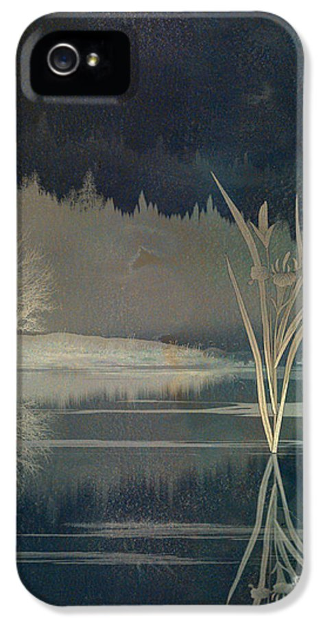 Gold IPhone 5 Case featuring the digital art Golden Pond Lily by Bedros Awak