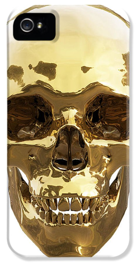 Old IPhone 5 Case featuring the digital art Golden Skull by Vitaliy Gladkiy