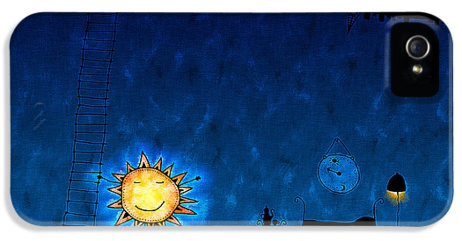 Abstract IPhone 5 Case featuring the drawing Good Night Sun by Gianfranco Weiss