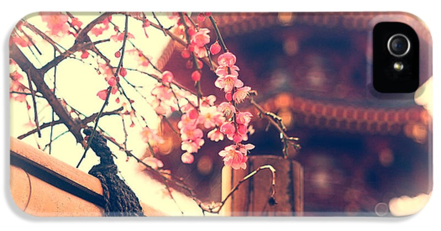 Pagoda IPhone 5 / 5s Case featuring the photograph Gorgeous Pagoda And Plum Blossoms With Bamboo Fence by Beverly Claire Kaiya