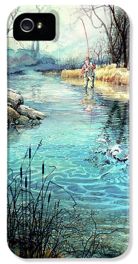 Fly Fishing IPhone 5 Case featuring the painting Gotcha by Hanne Lore Koehler