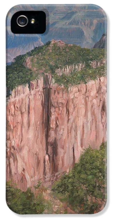 Grand Canyon IPhone 5 Case featuring the painting Grand Canyon North Rim by David Stribbling