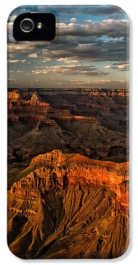 grand Canyon National Park Sunset Red Sky Clouds Arizona Landscape Nature Sceni natural Wonder Canyon IPhone 5 Case featuring the photograph Grand Canyon Sunset by Cat Connor