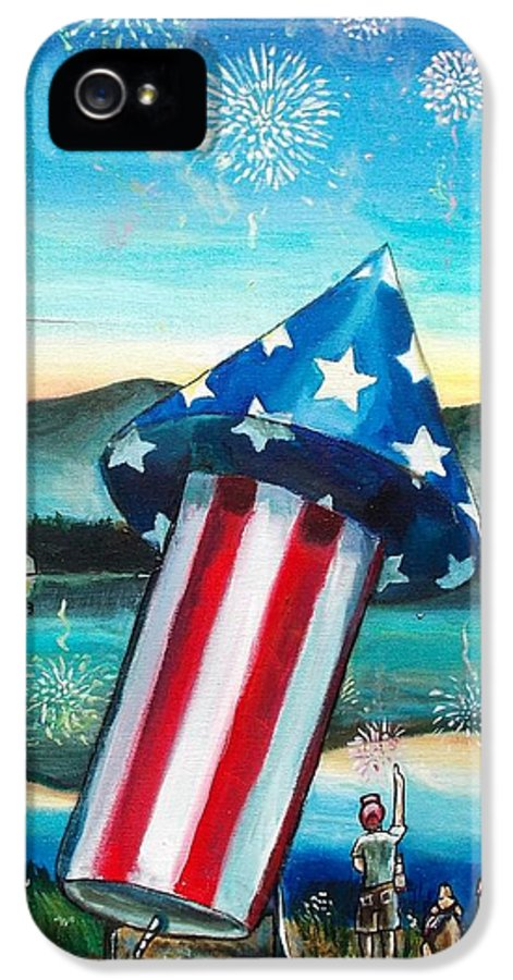 Firework IPhone 5 Case featuring the painting Grand Finale by Shana Rowe Jackson