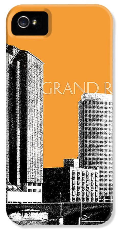 Architecture IPhone 5 Case featuring the digital art Grand Rapids Skyline - Orange by DB Artist