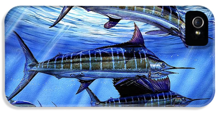 Blue Mrlin IPhone 5 Case featuring the painting Grand Slam Lure And Tuna by Terry Fox