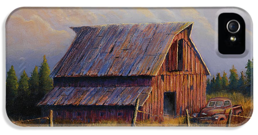 Barn IPhone 5 Case featuring the painting Grandpas Truck by Jerry McElroy