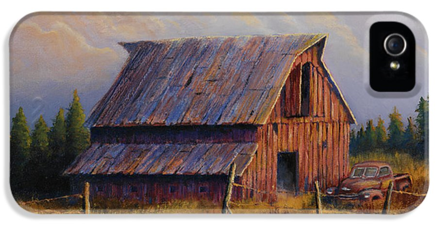 Barn IPhone 5 / 5s Case featuring the painting Grandpas Truck by Jerry McElroy