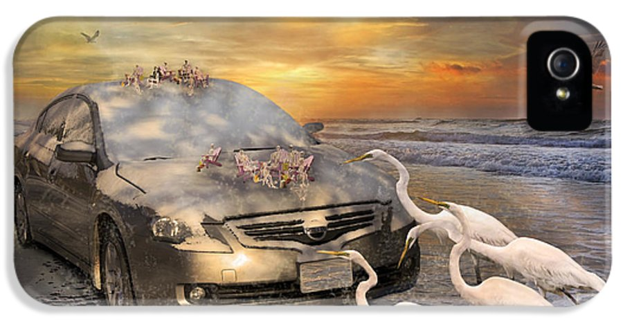 Nissan IPhone 5 / 5s Case featuring the mixed media Grateful Friends Curious Egrets by Betsy Knapp