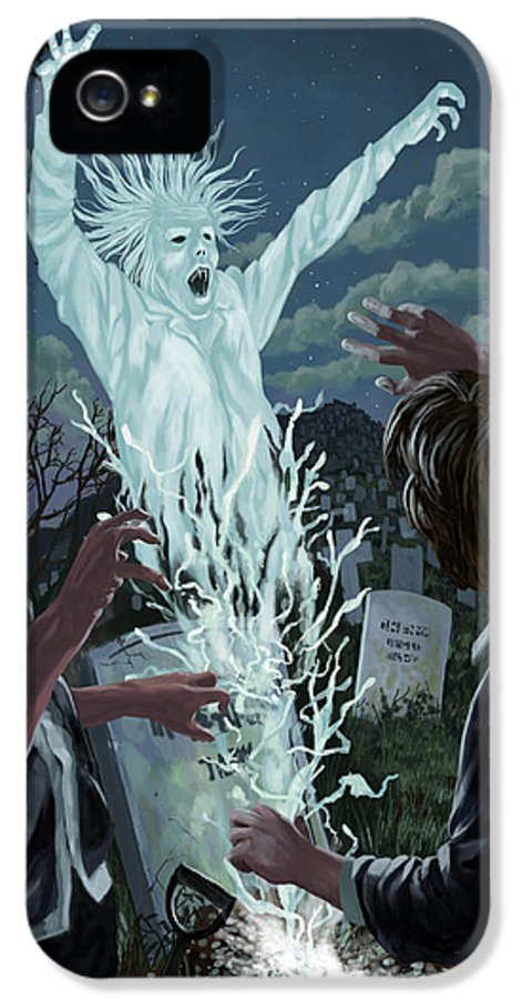 Graveyard IPhone 5 Case featuring the painting Graveyard Digger Ghost Rising From Grave by Martin Davey