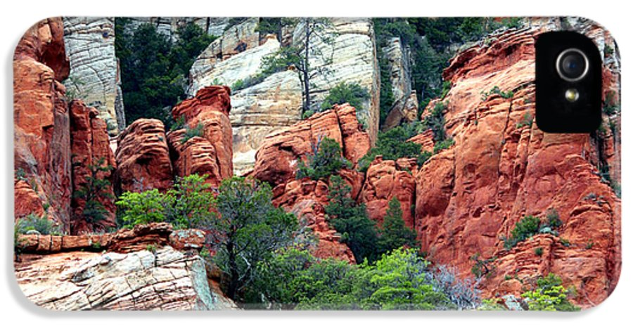 Arizona IPhone 5 Case featuring the photograph Gray And Orange Sedona Cliff by Carol Groenen