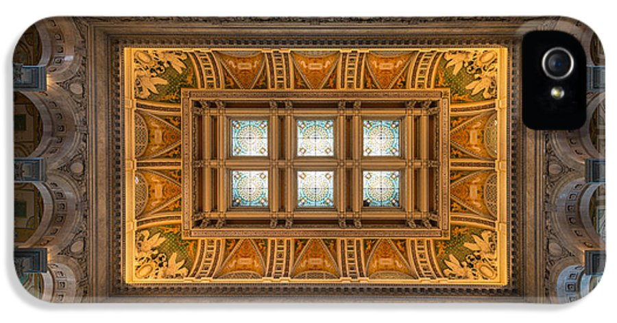 Loc IPhone 5 Case featuring the photograph Great Hall Ceiling Library Of Congress by Steve Gadomski