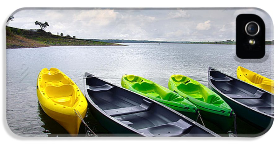 Activity IPhone 5 Case featuring the photograph Green And Yellow Kayaks by Carlos Caetano