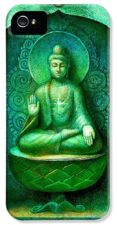 Buddha IPhone 5 Case featuring the painting Green Buddha by Sue Halstenberg