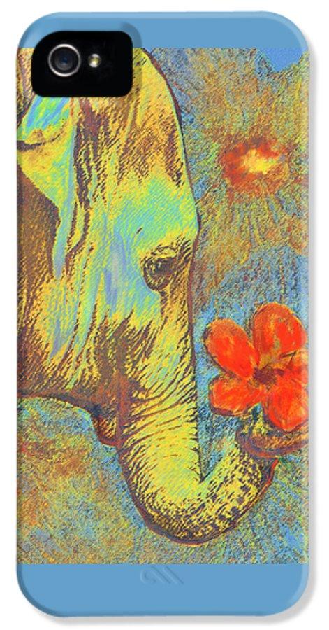 Elephant IPhone 5 Case featuring the digital art Green Elephant by Jane Schnetlage