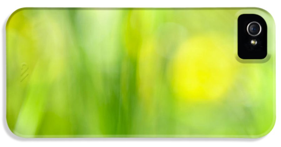 Green IPhone 5 Case featuring the photograph Green Grass With Yellow Flowers Abstract by Elena Elisseeva