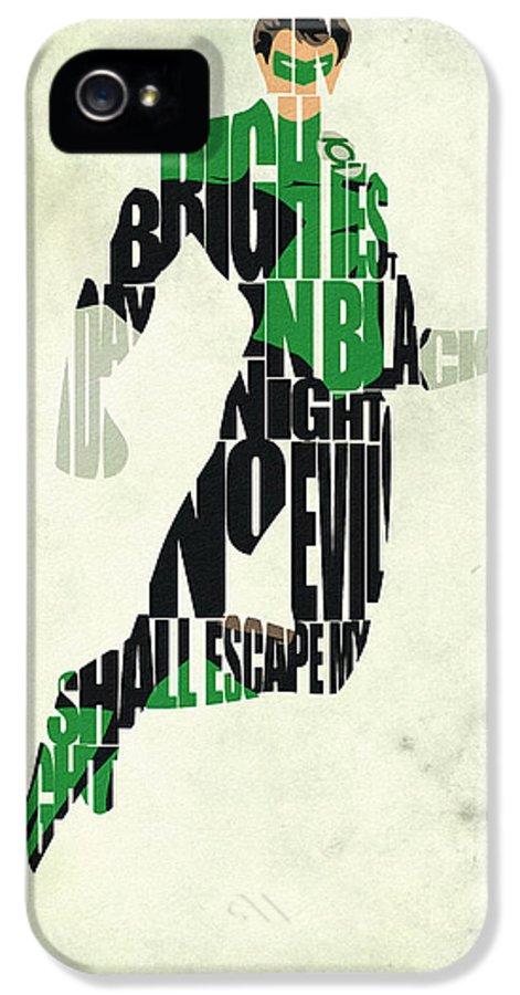 Green Lantern IPhone 5 Case featuring the drawing Green Lantern by Ayse Deniz