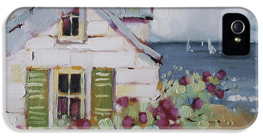 Print IPhone 5 Case featuring the painting Green Nantucket Shutters by Joyce Hicks