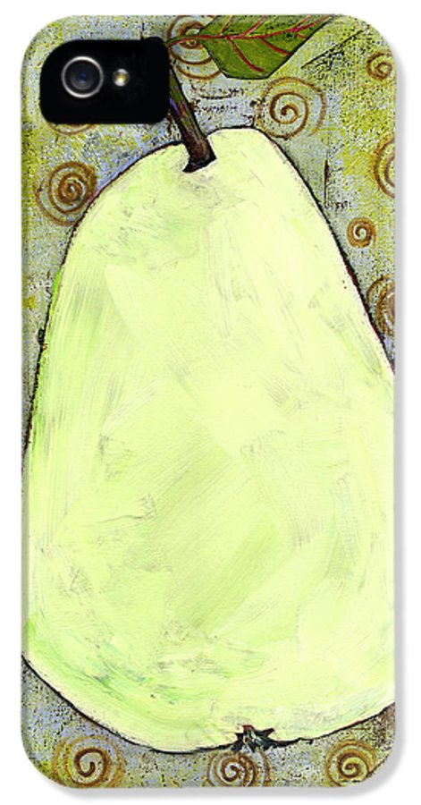 Art IPhone 5 / 5s Case featuring the painting Green Pear Art With Swirls by Blenda Studio