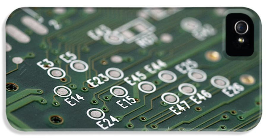 Board IPhone 5 Case featuring the photograph Green Printed Circuit Board Closeup by Matthias Hauser