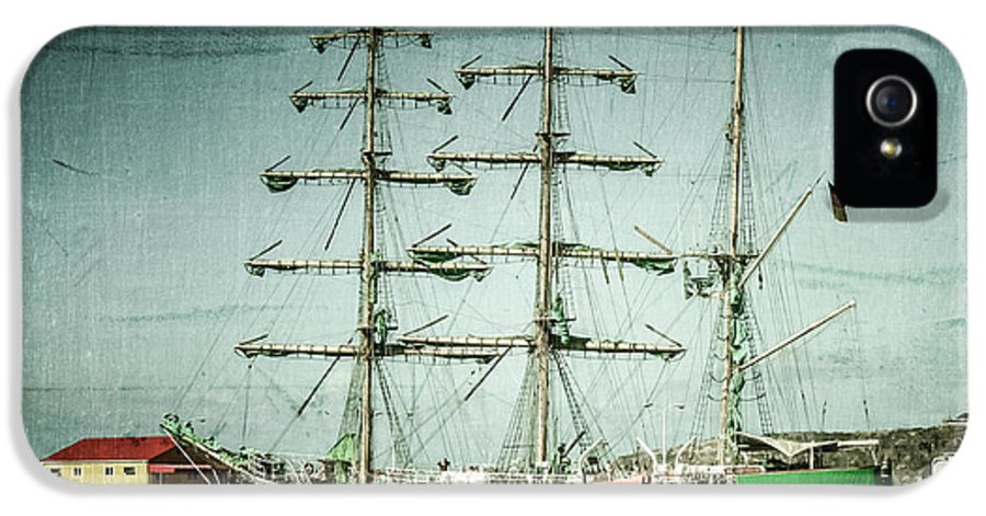Ship IPhone 5 Case featuring the photograph Green Sail by Perry Webster