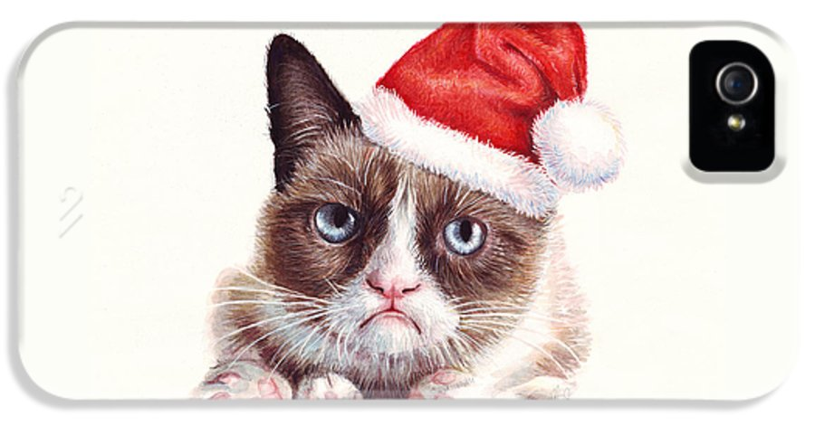 Grumpy IPhone 5 Case featuring the painting Grumpy Cat As Santa by Olga Shvartsur