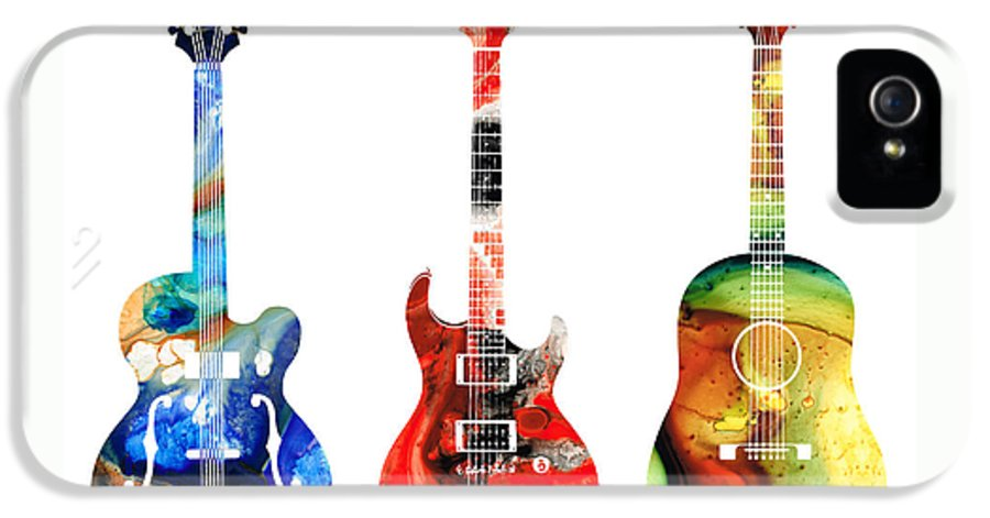 Guitar IPhone 5 Case featuring the painting Guitar Threesome - Colorful Guitars By Sharon Cummings by Sharon Cummings
