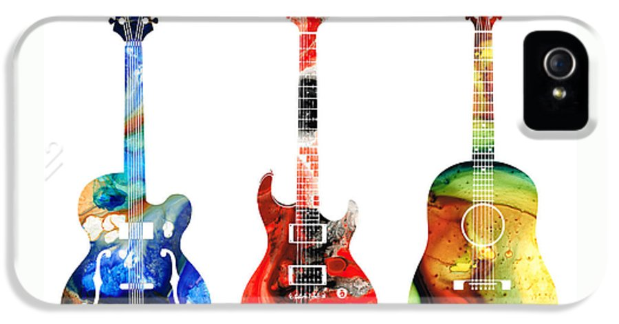 Guitar IPhone 5 / 5s Case featuring the painting Guitar Threesome - Colorful Guitars By Sharon Cummings by Sharon Cummings