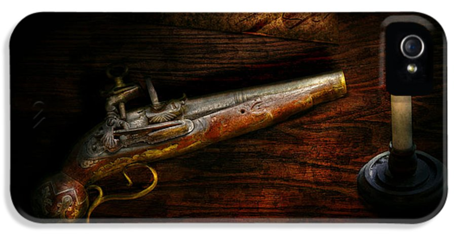 Police IPhone 5 / 5s Case featuring the photograph Gun - Pistol - Romance Of Pirateering by Mike Savad