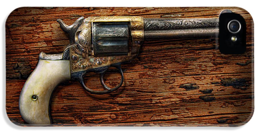 Police IPhone 5 Case featuring the photograph Gun - Police - True Grit by Mike Savad