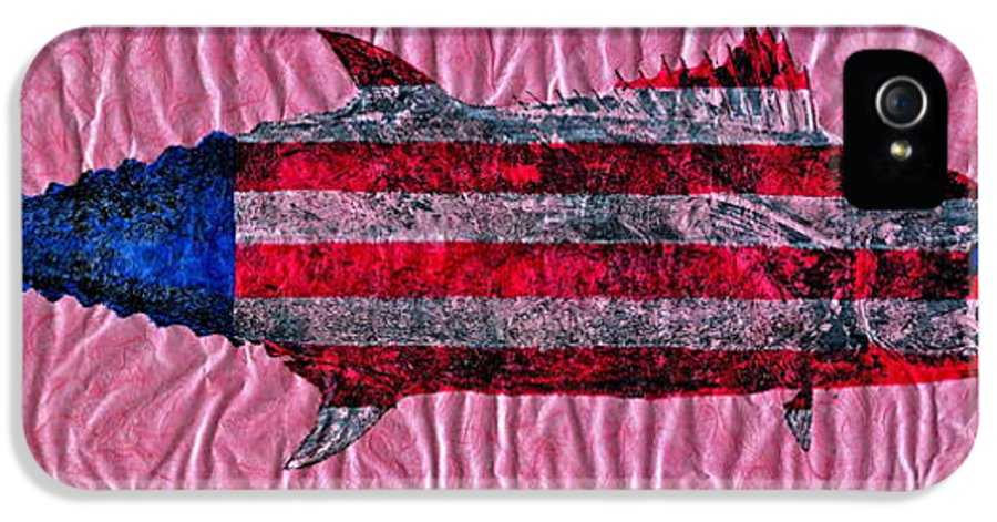 Gyotaku IPhone 5 Case featuring the mixed media Gyotaku - American Spanish Mackerel - Flag by Jeffrey Canha