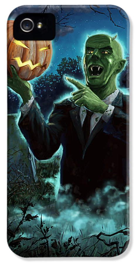 Ghoul IPhone 5 Case featuring the painting Halloween Ghoul Rising From Grave With Pumpkin by Martin Davey