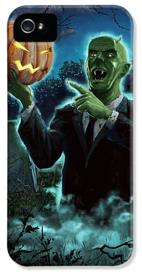 Ghoul IPhone 5 / 5s Case featuring the painting Halloween Ghoul Rising From Grave With Pumpkin by Martin Davey