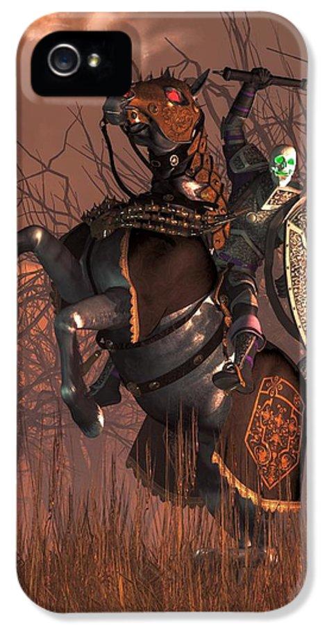 Death Knight IPhone 5 Case featuring the digital art Halloween Knight by Daniel Eskridge