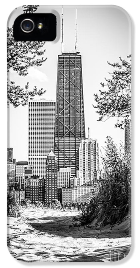 2012 IPhone 5 Case featuring the photograph Hancock Building Through Trees Black And White Photo by Paul Velgos