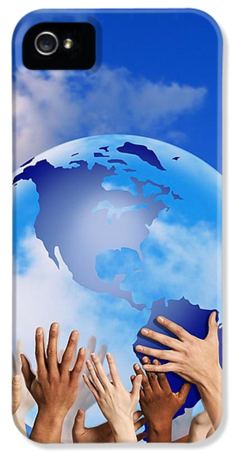 America IPhone 5 Case featuring the photograph Hands Touching A Globe by Don Hammond