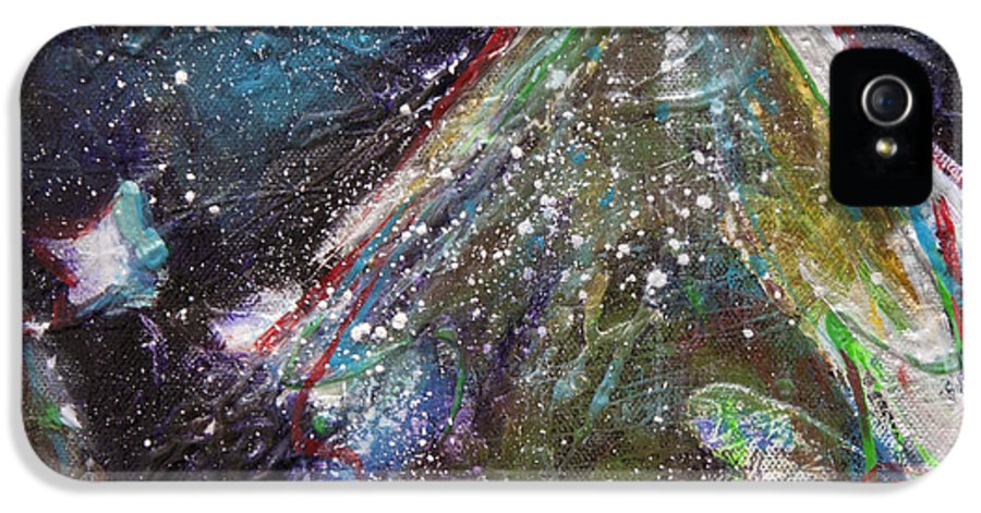 Happy Holidays IPhone 5 Case featuring the painting Happy Holidays Blue And Red Wishing Stars by Johane Amirault
