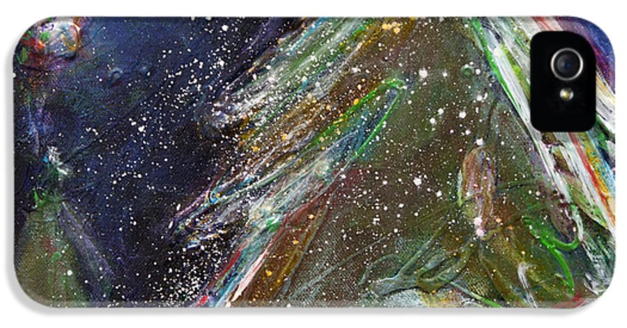 Happy Holidays IPhone 5 Case featuring the painting Happy Holidays Silver And Red Wishing Stars by Johane Amirault