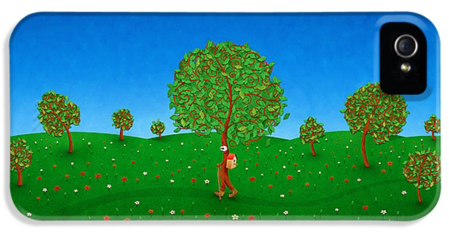 Abstract IPhone 5 Case featuring the drawing Happy Walking Tree by Gianfranco Weiss