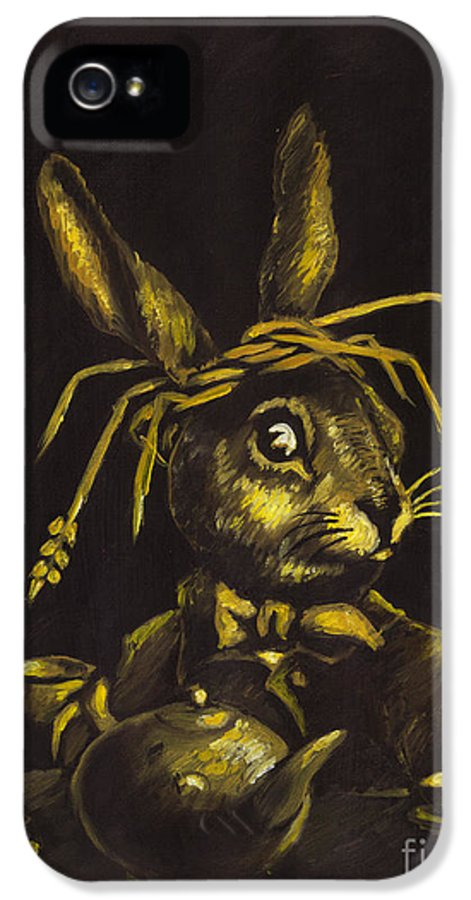 Oil Painting IPhone 5 Case featuring the painting Hare by Suzette Broad