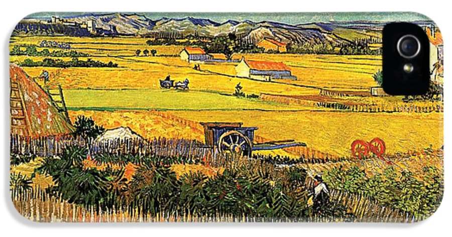 Harvest IPhone 5 Case featuring the painting Harvest At La Crau With Montmajour In The Background by Vincent Van Gogh