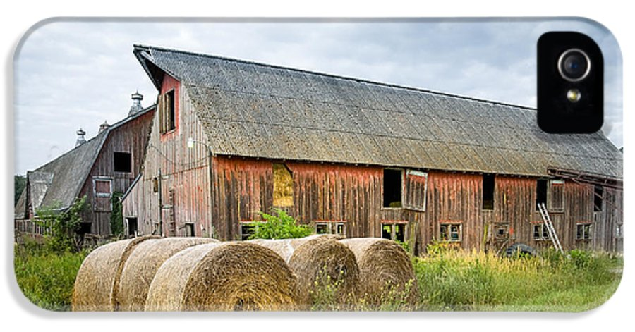 Old Barn IPhone 5 Case featuring the photograph Hay Bales And Old Barns by Gary Heller