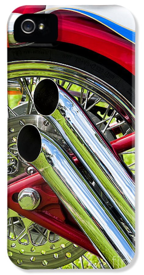 Harley Davidson IPhone 5 Case featuring the photograph Hd Custom Drag Pipes by Tim Gainey